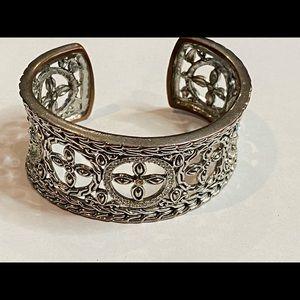 Rhinestone Silver Floral Statement Cuff Bracelet